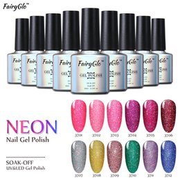 Wholesale Neon Uv Gel - FairyGlo 10ml UV Gel Nail Polish Neon Color UV Lamp Soak off Gel Polish Bling Gel Lak 1pcs Vernis Semi Permanent Gelpolish