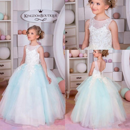 Wholesale Children Glitz Pageant Dresses - 2017 New Glitz Cheap Flower Girls Dresses For Weddings White Light Blue Lace Appliques Beads Ball Gown Birthday Children Girl Pageant Gowns