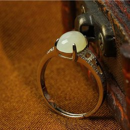 Wholesale Tian Rings - New China traditional Xin jiang He tian jadeite Ring White Jade Ring mobilizable jasper Sterling silver jade for women