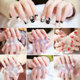 Wholesale Acrylic Nails For Wedding - Flower Rhinestone Pearl Full Cover 3D Design False Nail Tips for Bride Wedding Party