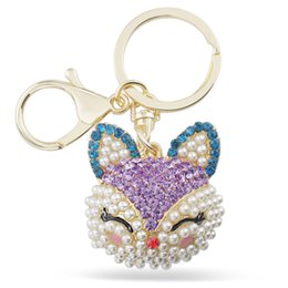 Wholesale Pearl Smile - Lucky Smile Fox Crystal Imitation Pearl Keyring Keychains For Car HandBag Pendant Party Gift Key Chains Holder