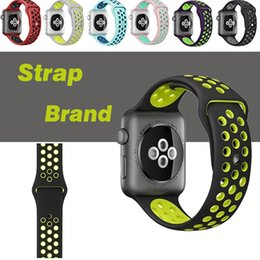 Wholesale Wholesale Sports Bracelets - Sport Silicone More Hole Loops Straps Bands Watchband For Apple Watch iWatch Series 1 2 3 Strap Band 38 42mm Wrist Bracelet VS Fitbit Strap