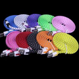 Плоский кабель для мобильного телефона онлайн-1m 3FT 2M 6FT 3M 10ft Micro USB нейлон плоская ткань Плетеный кабель для Samsung galaxy S3 S4 s6 s7 для htc для lg и т. д. мобильный телефон