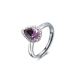 Wholesale Violet Stone - Peacock Violet Sparkling Diamond Ring 925 Sterling Silver Vintage Ring For Women Wedding And Engagement RS03770