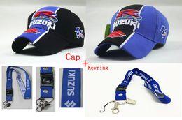 Wholesale Wholesale Golf Gps - Wholesale- Men F1 suzuki moto gp motorcycle baseball cap hats golf hat caps moto gp men keyring keychain