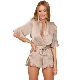 Wholesale Black Silk Jumpsuit Women - GJ106 New Woman Relax Loose Fit Deep V Neck 3 4 Sleeve Silk Ruffled Romper Satin Playsuit Casual Jumpsuits S-XL Tan Peach Black