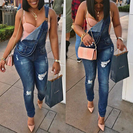 Wholesale Jeans Water - 2017 Europe and the United States Fashion Skinny blue overalls Water hole Denim Long Jumpsuits Pants Sexy Women Jeans 2XL