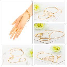Wholesale Hand Chain Bride Bracelet - Multi celebrity fashion chain tassel bracelet chain Wedding finger gold hand harness bracelets and short bangles Personality Bride