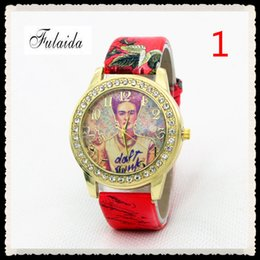 Wholesale Watch Lady Leather Band Bracelet - 10Colors Luxury Lady Watches Mexico Frida Kahlo Watches Fashion Leather Band Quartz Wristwatch Women Bracelet Watches Free Shipping