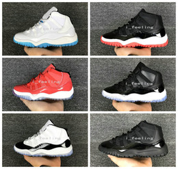 Wholesale Shoes Pink 35 - 2017 New Air Retro 11 Space Jam Kids Sport Basketball Shoes 6 Colors GS Heiress Suede Maroon Retro 11s Sneakers Blue Moon Sunset Size 28-35