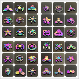 Wholesale Sport Hands Free - 48 Mental Fidget Spinner Hand Toy Alloy Fidgets Toys Rainbow Alloy Hand Spinner Fingertips Spiral Toys New Colorful Fingers Spinner Free DHL