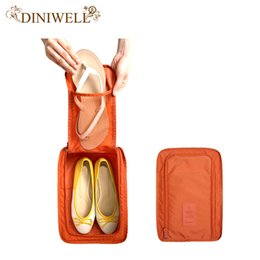 Wholesale Folding Fabric Storage Cubes - Wholesale- DINIWELL Portable Waterproof Shoes Bag Organizer Storage Pouch Pocket Packing Cubes Handle Nylon Zipper Bag for Travel