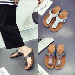 Wholesale Rubber Soled Slippers - Lady Cork Flip-flops Sequins Beach Sandles Women Sole Slippers Sexy Flat Flip Flops Outdoor Slipper Sandals Vogue Cool Shoes Slipper OOA1668