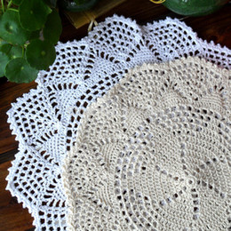Wholesale Doily Mats - Wholesale- ZAKKA fashion 12 pics lot 30cm Round cotton crochet lace doilies for home decor table mat with lace flowers coaster cup pads mat