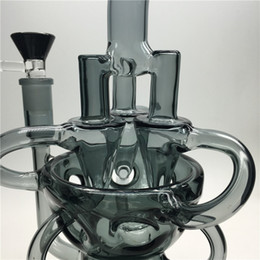 Wholesale 2017 Recycler Glass Bong Egg Dab Oil Rigs Awesome Triple Cyclone Inline Arm heady bongs gear water pipes rig bowl quartz banger black pipe