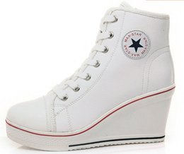 Wholesale Tall Canvas Shoes - Han edition New wedge canvas shoes 8 CM tall woman with han edition zipper with bigger sizes 35 and 42 women's leisure