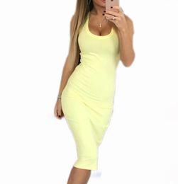 Wholesale Mid Wholesale Bodycon Dresses - Wholesale- 4 Colors Women Sexy Skinny Bodycon Dress Solid Slim Tank Dresses Package Hip Dress O-neck Mid-Calf Vestidos Plus Size X0181B