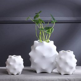 Wholesale Ceramic Bottle Vase - Ceramic white vase abstract desk decoration brief modern home accessories artificial flower flower veranda small bottle Free Shipping