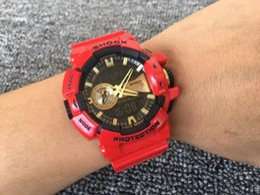 Wholesale Steel Dive Case - 2pcs Lot Men Women sport Dive G 400 Watches LED Army Men g400 shocked Military Watch Original Case 2017