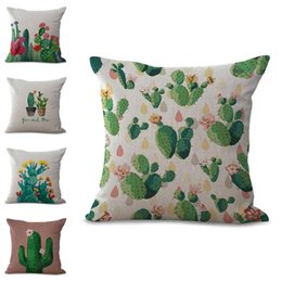 Wholesale plants office - Fashion Africa Tropical Plant Cushion Covers Cactus Pillowcase Seat Decor Car Chair Office Sofa Pillow Covers 45x45cm 300689