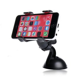Wholesale Dvr Mobile Phone - Double clip phone holder for car universal mobile cell phone mount car holder stand for iphone 6 6s plus Car DVR GPS