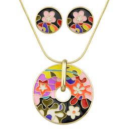 Wholesale Cloisonne Flowers - Brand Jewelry Sets Colorful Enamel Flower Pattern Round Pendant Necklace and Stud Round Earring