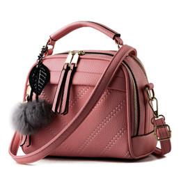 Wholesale Summer Messenger Bags - Spring Summer Women Shoulder Bag Hairball Handbags Small Leather Satchels Crossbody Bags Women Messenger Bag