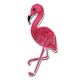 Wholesale Pink Iron Patches - 4Pcs Pink Flamingo Bird Animal Iron On Patches Embroidered Applique Sewing Patch Clothes Stickers Garment DIY Apparel Accessorie