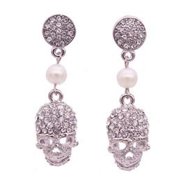 Wholesale Rhinestone Skull Earrings - 2017 new punk crown skull Dangle earrings for women Jewelry Fashion club Halloween delicate gem crystal skeleton drop earrings Free shipping