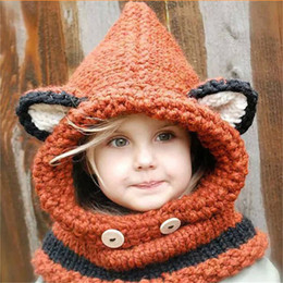 Wholesale Wool Hat Fashion Colors - Europe and United States fashion style mixed colors ,wool knitted baby children Siamese scarf hat,fox cat shawl cap and cute scarf