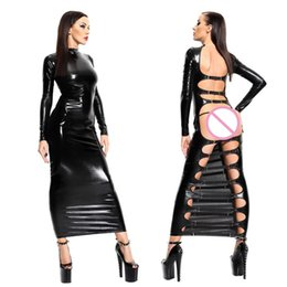 Wholesale Turtle Neck Backless Dress - New Arrival Sexy Night Party Dress Women Bandage Dress Backless Clubwear Long Sleeve Vestidos Exotic Faux Leather Dress