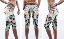 Wholesale High Waist Tight Leggings Ladies - Ladies Yoga Compression Leggings Funny Floral Skull Fitness Capri Pants White High Waist Dancing Tights Slim Running 3 4 Trouser