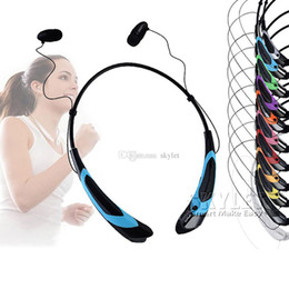 Wholesale Iphone Fashion Retail - HBS 760S Bluetooth Headphone For Iphone6 Wireless Stereo Earphone Fashion Sport Neckband black meck strap in-ear No LOGO With Retail Package
