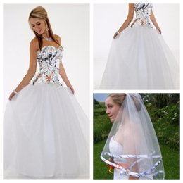 Wholesale Empire Bridal Veils - Top Sale White Camo A-Line Camouflage Wedding Dress Country Vestidos De Novia Custom Plus Size Long Bridal Gowns Cheap With Veil
