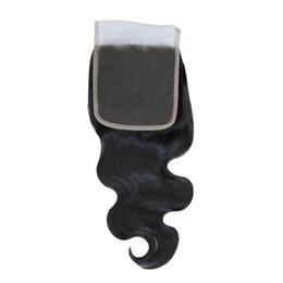 Wholesale Side Part Closures - 5*5 Lace Closure Bleached Knots Brazilian Body Wave Virgin Human Hair Lace Top Closure Free Middle 3 Way Side Part 8-20 inch