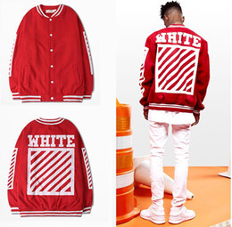Wholesale Cool Fashion Jackets - 2017 OFF WHITE mens stripe offset print Sweatshirts brand Cool College Baseball Jacket red and black Autumn HIP HOP slim Jacket big yards