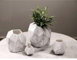 Wholesale Modern Tabletop Decor - Irregular Home decor flower pots ceramic vases marble grain vein texture decorative flower vases flowerpot planters HWD46