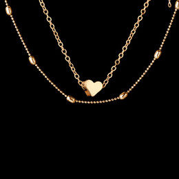 Wholesale Multilevel Necklace - Love Heart Pendant Necklace Silver Gold Chain Multilevel Chokers Collar Fashion Jewelry for Women Gift 162512