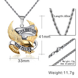 Wholesale Circle Eagle - DJ Jewelry Punk rock tide male act the role ofing is tasted Personality pendant restoring ancient ways eagle titanium steel necklace pendant