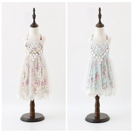 Wholesale Tutu Embroidery - 2017 girls floral dress girl halter dress kids dress girl clothes lace embroidery free shipping