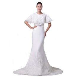 Wholesale Европейский Американский Стиль Новый Бренд Дизайнер Свадебное Платье С Коротким Мыс Королевский Свадебный Русалка Платье