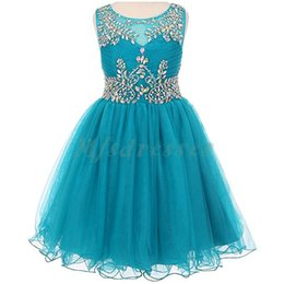 Wholesale Teal Evening Dresses Images - 2017 New Teal Tulle Short Girls Pageant Dresses Knee Length Beading Flower Girl Dress Kids Prom Evening Gowns Girls Formal Party Dresses