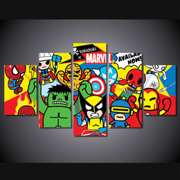 Wholesale kids canvas art animals - 5Pcs Set Framed HD Printed Comic Marvel Superhero Avengers For Kid Room Wall Art Canvas Print Poster Canvas Pictures Painting