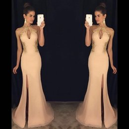 Wholesale Slit Prom Gown - Sexy Mermaid Prom Dresses 2017 Pink Lace Elegant Side Slit Party Formal Dresses Long Evening Dresses Gowns