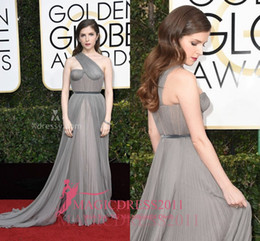 Wholesale Golden Yellow Bridesmaid Dress - Gray One-shoulder Bridesmaid Celebrity Dress Anna Kendrick Golden Globes 2017 A-Line Prom Evening Dresses Ruffled Long Formal Party Gowns