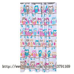 Hoher Qulity-Mode-Entwurfs-OWL-Muster-Duschvorhang mit Satz von 12 unzerbrechlichen Duschvorhang-Haken für Badezimmer von Fabrikanten