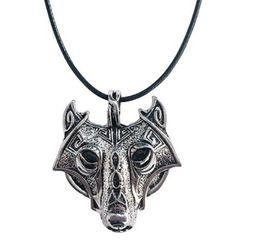 Wholesale Trinket Necklaces - 10pcs 42+5cm Vintage Norse Vikings Wolf Necklace Faux Leather Men Retro Animal Pendants Necklaces Women Jewelry Trinket Fashion Party Gift