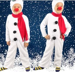 Wholesale Christmas Costumes For Teenage Boys - Children's Snowman Costumes Christmas Role Play Halloween Costumes Red Nose Boys And Girls Cosplay For Christmas Party