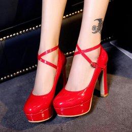 Wholesale Strap Heels Women - Women Fashion High Heel Dress Shoes Western Women Shoes Chunky Heel Platform Ankle Straps Round Toe Wedding Pumps Size 32-43