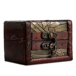 Wholesale Wooden Box Lock Wholesale - Wholesale- Vintage Small Wooden Lock Jewelry Necklace Bracelet Gift Storage Holder Box Case